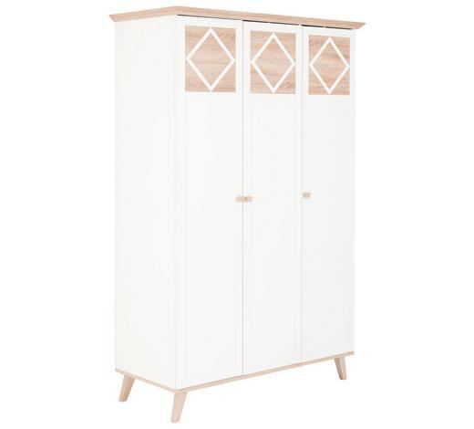 DREHTÜRENSCHRANK 3-türig Weiß, Eichefarben  - Eichefarben/Weiß, Design, Holzwerkstoff (133/204/59cm) - Carryhome