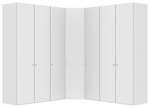 ECKSCHRANK Weiß - Silberfarben/Weiß, Design, Holzwerkstoff/Metall (250/250/236/58,5cm) - JUTZLER