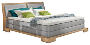 BOXSPRINGBETT Webstoff 160/200 cm  INKL. Topper - Eichefarben/Beige, Design, Holz/Textil (160/200cm) - Linea Natura