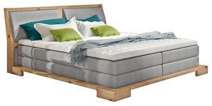 BOXSPRINGBETT GRAU-BEIGE Webstoff 140/200 cm  INKL. Topper - Eichefarben/Beige, Design, Holz/Textil (140/200cm) - Linea Natura