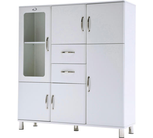 KOMMODE lackiert, melaminharzbeschichtet Weiß  - Chromfarben/Weiß, Basics, Glas/Holzwerkstoff (144/159/44cm) - Carryhome