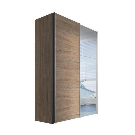SCHWEBETÜRENSCHRANK 2-türig Sonoma Eiche - Alufarben/Sonoma Eiche, KONVENTIONELL, Glas/Holzwerkstoff (150/216/68cm) - Hom`in