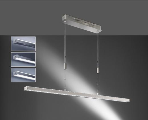 LED-HÄNGELEUCHTE - Nickelfarben, LIFESTYLE, Glas/Metall (115/7/90-150cm)