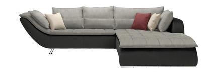 WOHNLANDSCHAFT Hellgrau, Dunkelgrau  - Chromfarben/Dunkelgrau, Design, Textil/Metall (300/220cm) - Hom`in