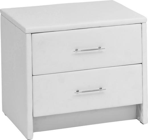 NACHTKÄSTCHEN Lederlook Weiß - Silberfarben/Weiß, Design, Kunststoff/Textil (50/45/43cm) - CARRYHOME