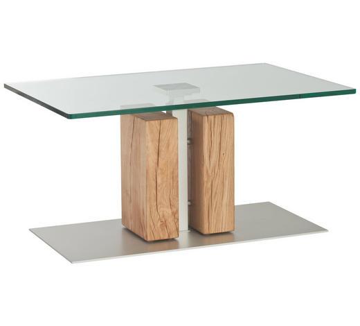 COUCHTISCH in Holz, Metall, Glas 90/60/45-63 cm - Eichefarben, KONVENTIONELL, Glas/Holz (90/60/45-63cm)