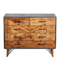 KOMMODE Tanne teilmassiv Grau, Naturfarben - Graphitfarben/Naturfarben, Design, Holz/Metall (100/80/40cm) - Kare-Design