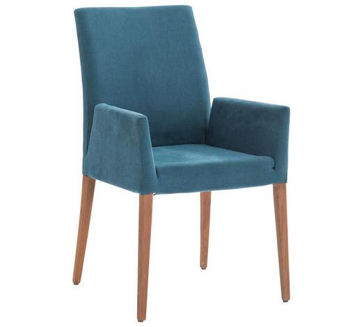 ARMLEHNSTUHL in Blau, Nussbaumfarben  - Blau/Nussbaumfarben, Design, Holz/Textil (55/96/65cm)