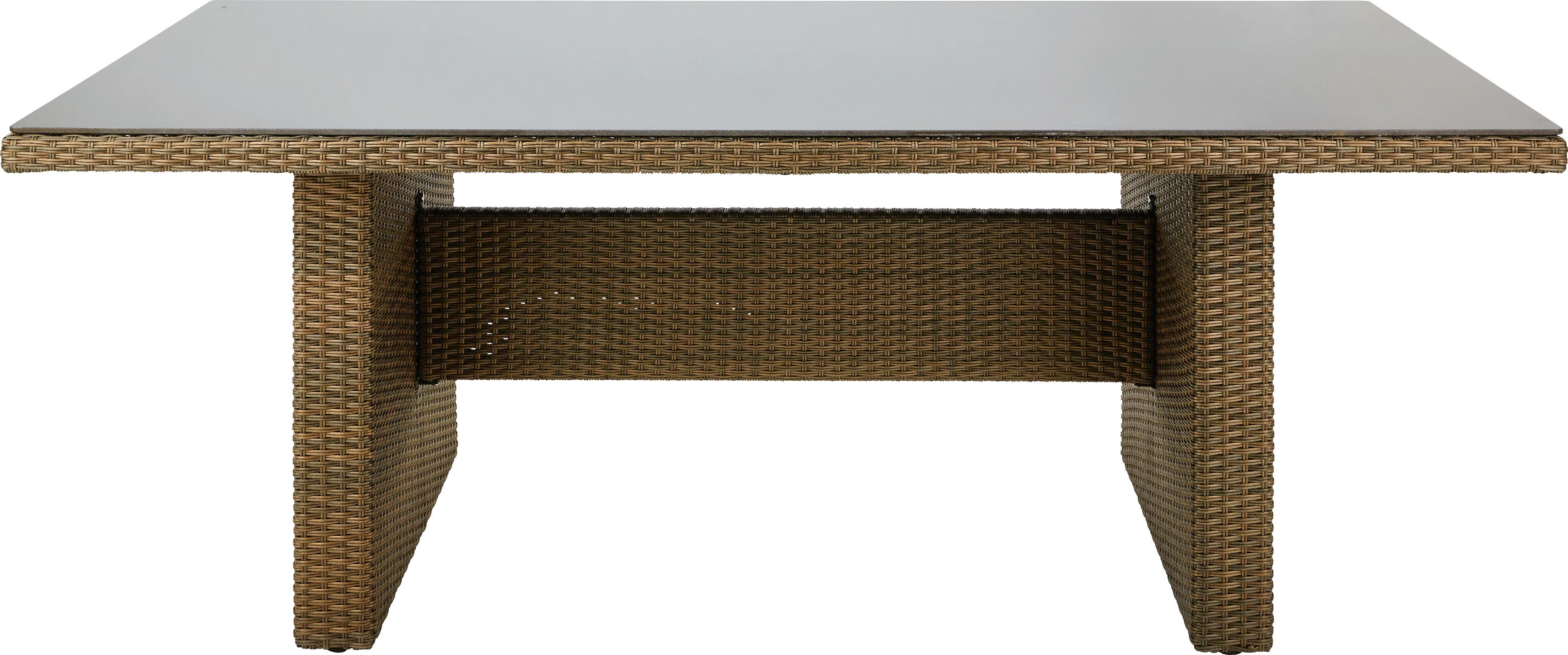 GARTENTISCH Glas, Kunststoff, Metall Braun - Braun, LIFESTYLE, Glas/Kunststoff (200/74,5/100cm) - AMBIA GARDEN