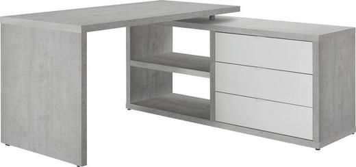 ECKSCHREIBTISCH Grau, Weiß - Weiß/Grau, Design, Holzwerkstoff/Metall (150/74/140cm) - Carryhome