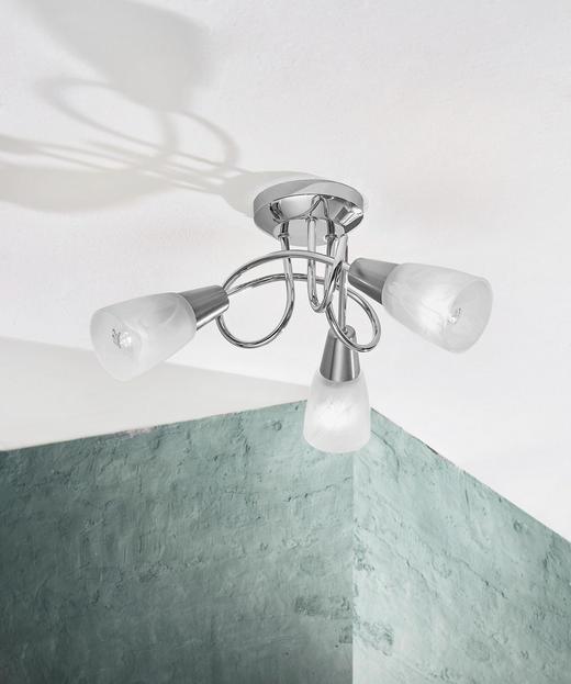 DECKENLEUCHTE - Chromfarben/Nickelfarben, Design, Glas/Metall (38/38/20cm) - Boxxx