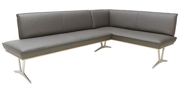 ECKBANK 237/162 cm  in Schlammfarben, Eichefarben, Nickelfarben  - Edelstahlfarben/Schlammfarben, Design, Leder/Holz (237/162cm) - Ambiente