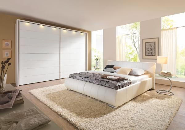SCHWEBETÜRENSCHRANK in Weiß - Chromfarben/Weiß, Design, Glas/Holz (331/240/68cm) - MODERANO