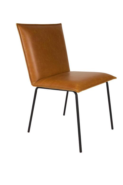 STUHL Lederlook Braun - Schwarz/Braun, Design, Textil/Metall (56/54/83cm)