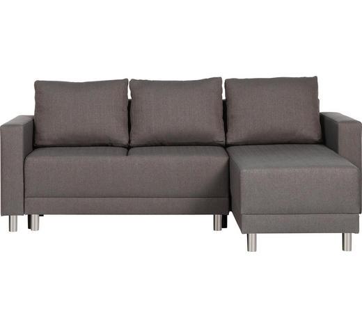 WOHNLANDSCHAFT in Textil Braun  - Silberfarben/Schwarz, Design, Kunststoff/Textil (215/145cm) - Carryhome