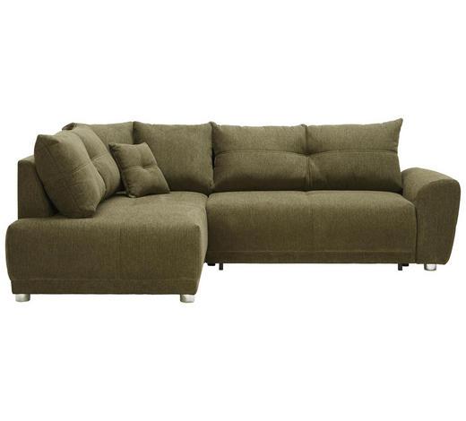 WOHNLANDSCHAFT in Textil Grün - Silberfarben/Grün, KONVENTIONELL, Kunststoff/Textil (205/260cm) - Carryhome
