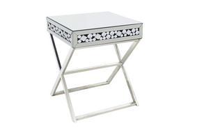 AVLASTNINGSBORD - silver, Design, metall/glas (45,8/58,8/45,8cm) - Ambia Home