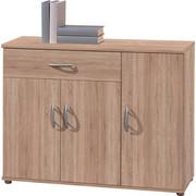KOMODA, hrast sonoma - hrast sonoma/srebrna, Design, umetna masa/leseni material (90/70/30cm) - Boxxx