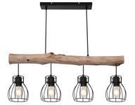 Hängeleuchte Anette - Schwarz, ROMANTIK / LANDHAUS, Holz/Metall (140cm) - James Wood