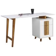 PISALNA MIZA les, leseni material bela, hrast  - naravna/bela, Design, leseni material/les (140/76/60cm) - Novel