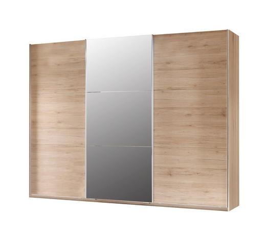 SCHWEBETÜRENSCHRANK 3-türig Eichefarben  - Eichefarben/Silberfarben, Basics, Glas/Holzwerkstoff (270/211/61cm) - Carryhome