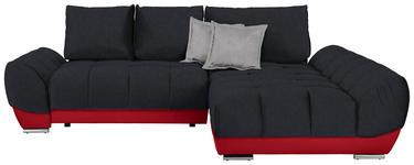 WOHNLANDSCHAFT in Textil Anthrazit, Rot, Hellgrau  - Anthrazit/Rot, MODERN, Textil/Metall (290/192cm) - Carryhome