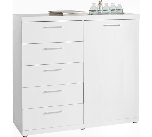 KOMMODE Hochglanz, lackiert Weiß - Chromfarben/Silberfarben, Design, Holzwerkstoff/Kunststoff (115/106,6/40cm) - Carryhome