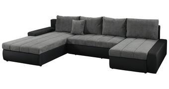 SJEDEĆA GARNITURA tekstil  siva, crna   - siva/crna, Lifestyle, tekstil/plastika (212/357/159cm) - Novel