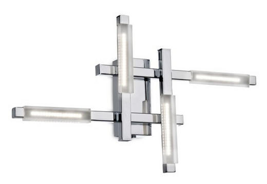 LED-DECKENLEUCHTE - Chromfarben, LIFESTYLE, Glas/Metall (43/29/8cm)