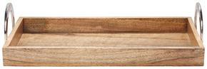 SERVERINGSBRICKA - brun/nickelfärgad, Lifestyle, metall/trä (42/20/10cm) - Ambia Home