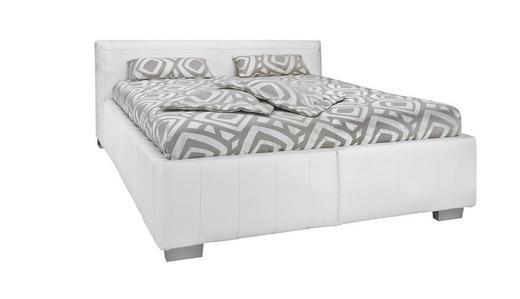 ČALOUNĚNÁ POSTEL, 160 cm  x 200 cm, kůže, bílá - bílá, Konvenční, dřevo/textil (160/200cm)