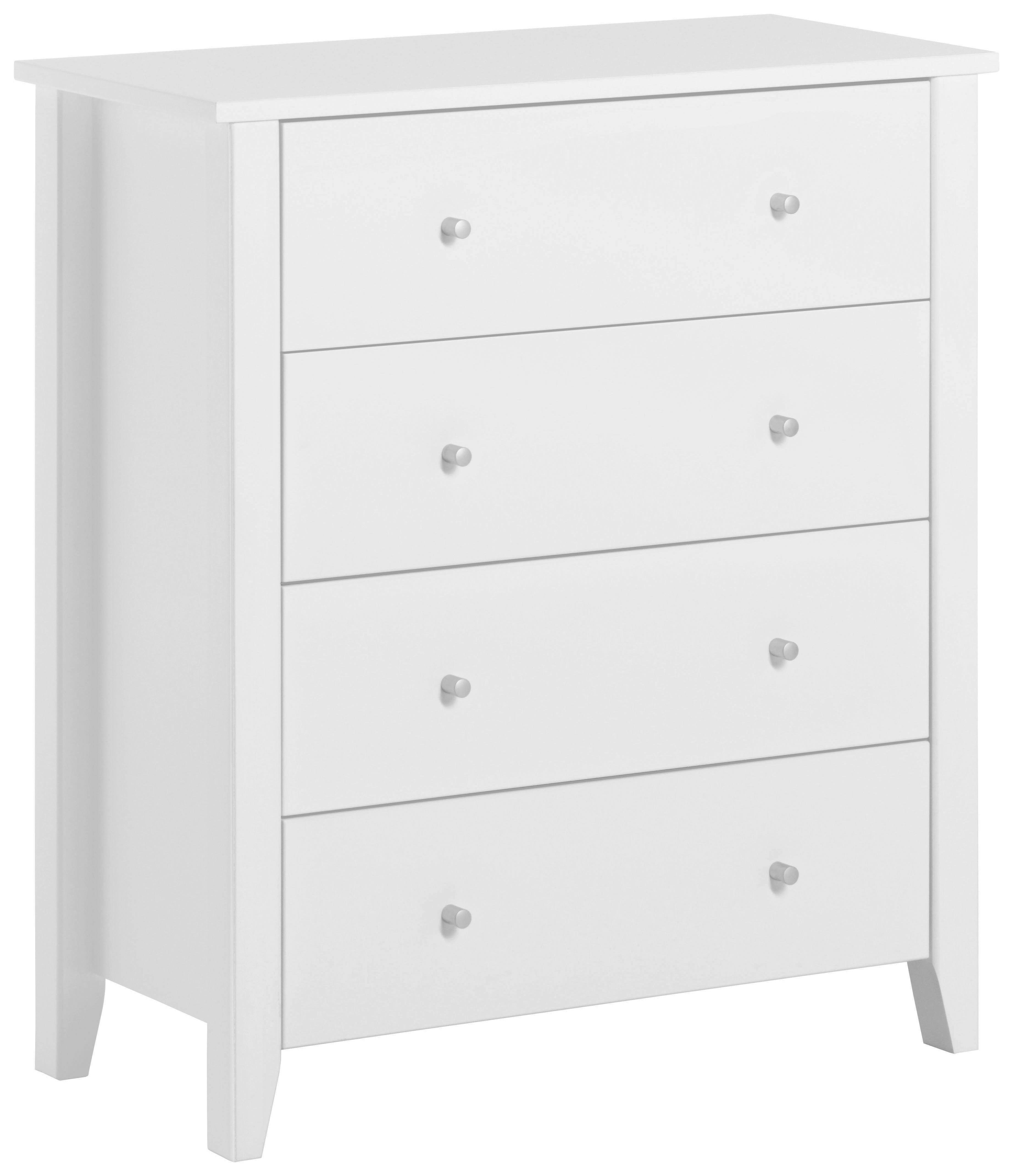 KOMMODE in teilmassiv Kiefer Weiß - Silberfarben/Weiß, MODERN, Holz/Holzwerkstoff (84/95/40cm)