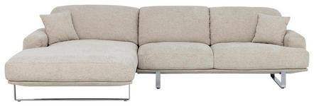 WOHNLANDSCHAFT in Textil Grau  - Chromfarben/Grau, Design, Textil/Metall (184/304cm) - Dieter Knoll