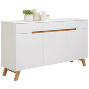 KOMODA - bijela/boje hrasta, Design, drvni materijal/drvo (169/94/41cm) - Hom`in