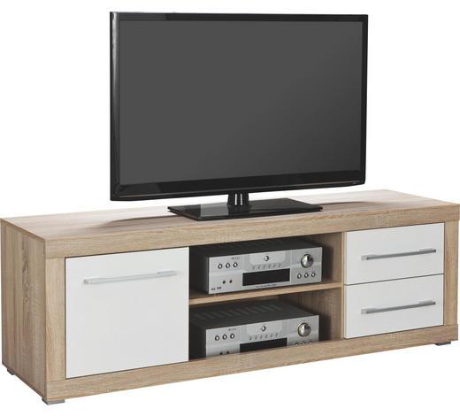 TV-ELEMENT Weiß, Sonoma Eiche  - Silberfarben/Weiß, Design, Holzwerkstoff/Kunststoff (155/52/45cm) - Boxxx