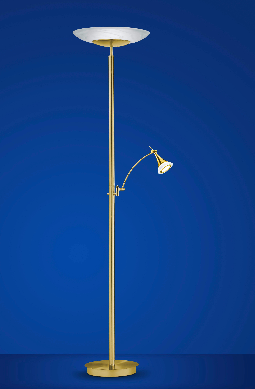 LED-GOLVLAMPA - vit/mässingfärg, Klassisk, metall/glas (185cm) - Ambiente