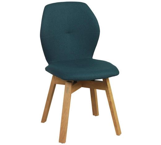 STUHL in Holz, Textil Türkis, Eichefarben  - Türkis/Eichefarben, Design, Holz/Textil (47/87/58cm) - Lomoco
