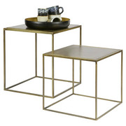 SADA ODKLÁDACÍCH STOLKŮ, kov, barva mosaz - barva mosaz, Design, kov (40/40/45cm) - Ambia Home