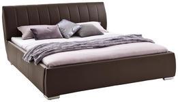 POLSTERBETT 180/200 cm  in Braun  - Chromfarben/Braun, Design, Holz/Textil (180/200cm) - Xora