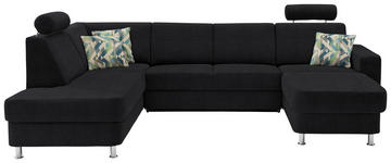 WOHNLANDSCHAFT in Textil Schwarz - Chromfarben/Multicolor, Design, Kunststoff/Textil (198/301/165cm) - Xora