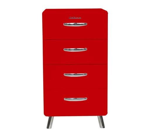 KOMMODE lackiert, Melamin Rot  - Chromfarben/Rot, Design, Metall (56/92/43cm) - Carryhome