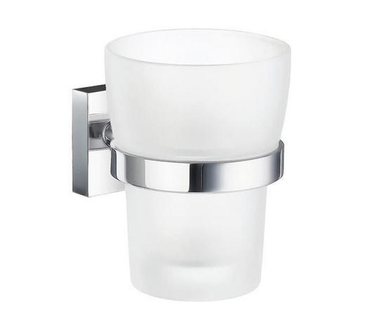 ZAHNPUTZBECHER Metall, Glas  - Chromfarben, Basics, Glas/Metall (7,5/9,8/9,3cm)