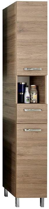 HOCHSCHRANK Eichefarben - Chromfarben/Eichefarben, Design, Glas/Holzwerkstoff (30/195,5/33cm) - Carryhome