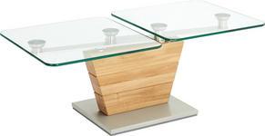 COUCHTISCH in Glas, Holz 120/60/44 cm - Edelstahlfarben/Eichefarben, Design, Glas/Holz (120/60/44cm) - Novel