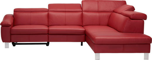 WOHNLANDSCHAFT Echtleder Kopfteilverstellung, Rücken echt - Rot/Alufarben, Design, Leder/Metall (278/228cm) - Welnova