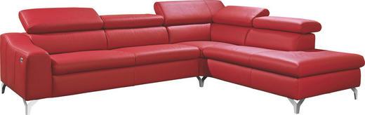 WOHNLANDSCHAFT Echtleder - Chromfarben/Rot, Design, Leder/Metall (286/231cm) - MUSTERRING