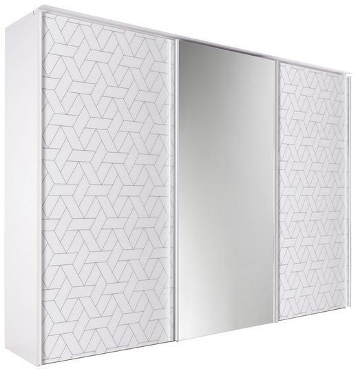 SCHWEBETÜRENSCHRANK 3-türig Weiß - Chromfarben/Weiß, Design, Glas/Holzwerkstoff (280/222/68cm) - Dieter Knoll