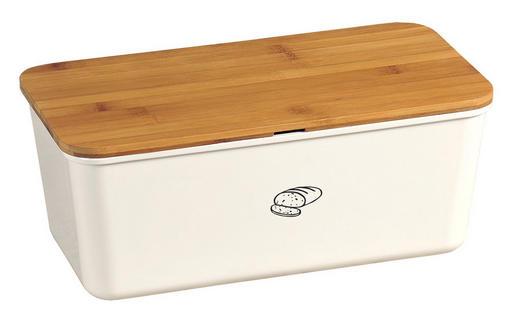 BOX NA CHLEBA - bílá/hnědá, Basics, dřevo/umělá hmota (34/18/13cm)