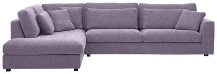 WOHNLANDSCHAFT in Violett Textil - Violett/Schwarz, LIFESTYLE, Holz/Textil (224/333cm) - Valnatura