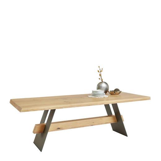 ESSTISCH Asteiche vollmassiv rechteckig Dunkelgrau, Eichefarben - Dunkelgrau/Eichefarben, Design, Holz/Metall (240/100/77cm) - Musterring